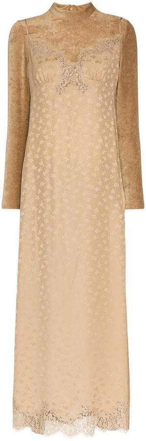 Stella McCartney high neck lace velvet silk blend dress