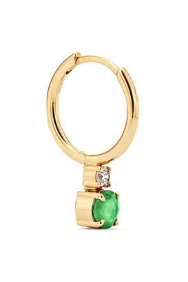 Jemma Wynne 18-karat Gold, Emerald And Diamond Hoop Earring - one size