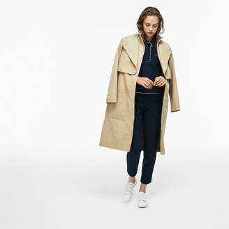 Lacoste Women's Belted Long Cotton Twill Trench Coat With Storm Flaps