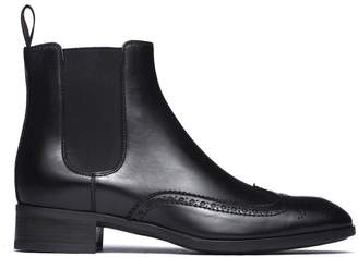 Santoni Ankle Boots With Dovetail Design In Smooth Black Leather