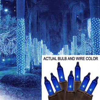 Asstd National Brand 2' X 8' Blue Mini Christmas Net Style Tree Trunk Wrap Lights with Brown Wire