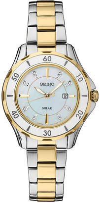 Seiko Women Solar Dress Diamonds-Accent Sport Two-Tone Stainless Steel Bracelet Watch 33mm