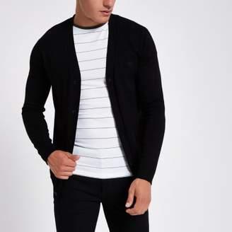 River Island Mens Black V neck button-up cardigan