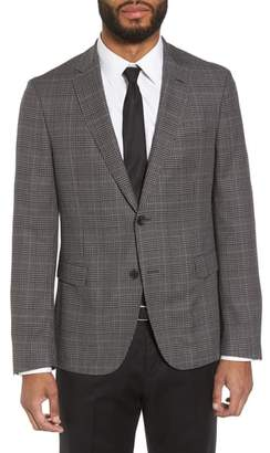 BOSS Nobis Trim Fit Plaid Wool & Silk Blend Sport Coat