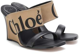Chloé Canvas and leather wedge sandals