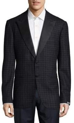 Peak Lapel Oxford Wool Blazer