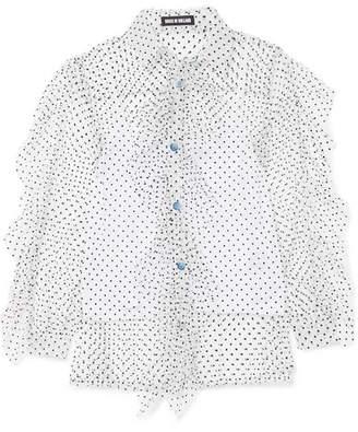 House of Holland Ruffled Swiss-dot Tulle Shirt - White