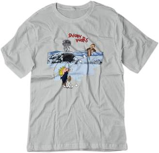 Star Wars BSW Youth Calvin and Hobbes Snow Wars Shirt LRG Silver