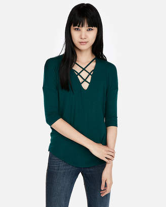 Express Petite One Eleven Strappy Front London Tee