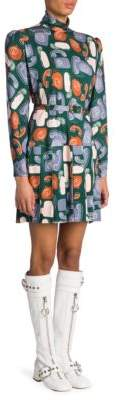Miu Miu Telephone Print Mini Dress