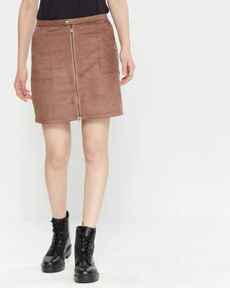 a4d7e326429d David Lerner Sofia Zip Front Mini Skirt