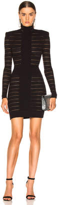 Balmain High Neck Medical Stripe Dress in Noir | FWRD