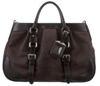Prada Leather-Trimmed Canapa Satchel brown Leather-Trimmed Canapa Satchel