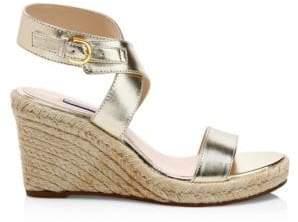 Stuart Weitzman Lexia Metallic Leather Slingback Platform Wedge Sandals