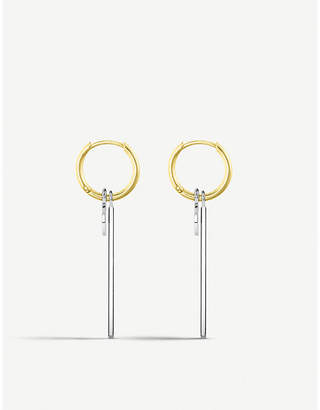 Thomas Sabo Bicolour sterling silver and 18ct yellow-gold bar hoop earrings
