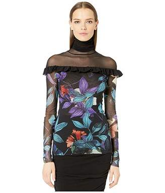Fuzzi Long Sleeve Sheer T-Neck Top in Leaf Top