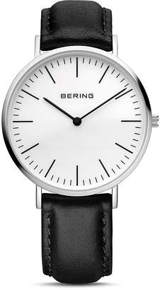 Bering Leather Strap Watch, 38mm $169 thestylecure.com