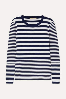 MICHAEL Michael Kors Striped Ribbed Stretch-knit Sweater - Navy e25b46257
