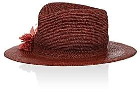 Albertus Swanepoel Women's Gauze Panama Straw Fedora - Red