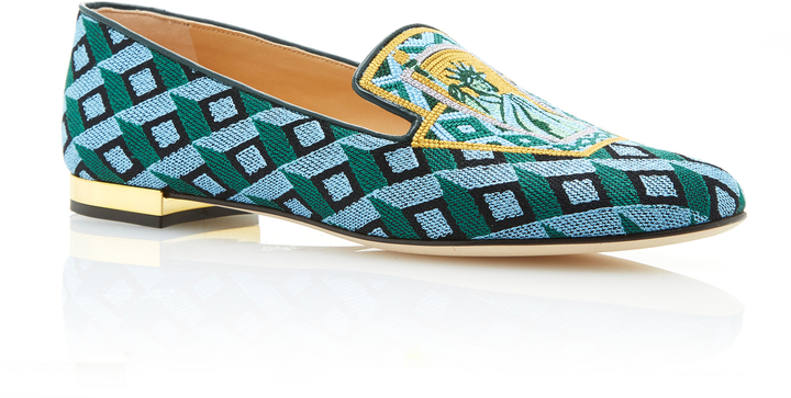 Charlotte OlympiaCharlotte Olympia M'O Exclusive: Lady Liberty Embroidered Canvas Slippers