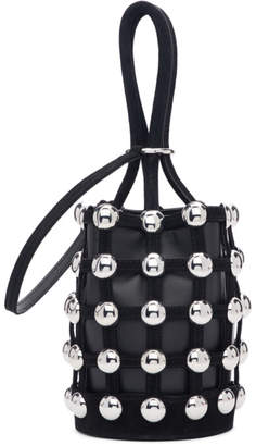 Alexander Wang Black Suede Mini Roxy Cage Bucket Bag