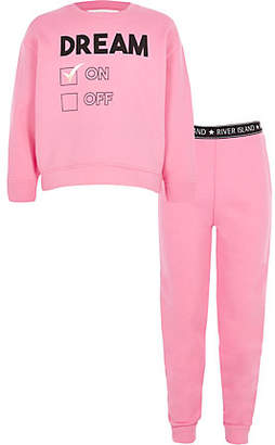 River Island Girls Pink 'dream' sweatshirt lounge outfit
