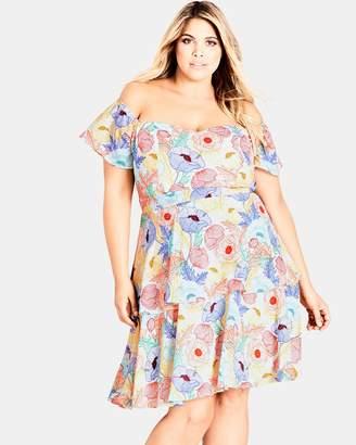 City Chic Etched Poppy Dress
