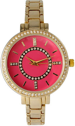 Mother of Pearl OLIVIA PRATT Olivia Pratt Womens Rhinestone Bezel Faux Rhinestone Dial Hot Pink Bracelet Watch 14403Hot Pink