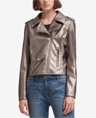 DKNY Metallic Faux-Leather Moto Jacket