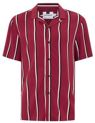 Burgundy Stripe Revere Shirt $55 thestylecure.com