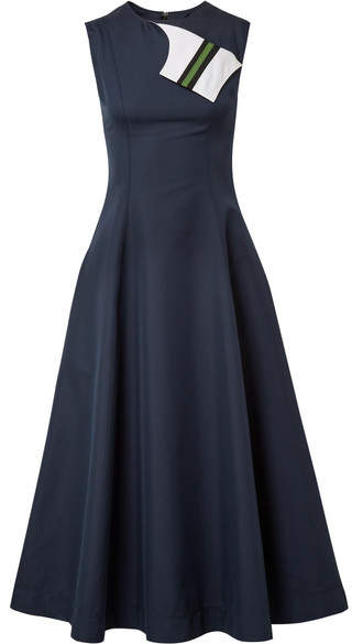 CALVIN KLEIN 205W39NYC - Grosgrain-trimmed Cotton And Silk-blend Twill Midi Dress - Midnight blue