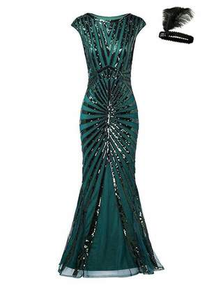 General Formal Evening Dress 1920s Sequin Mermaid Maxi Long Flapper Gown  Party ( 18914d796