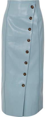 REJINA PYO - Scout Faux Leather Midi Skirt - Blue