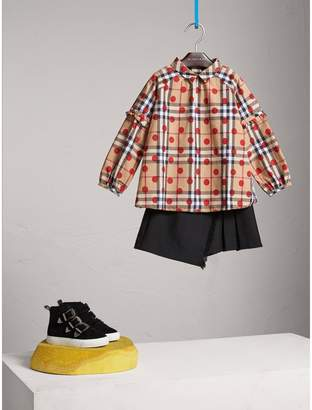 Burberry Ruffle Detail Polka-dot Check Cotton Top