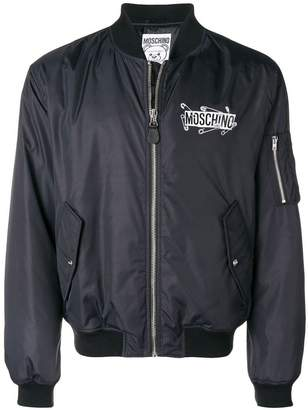 Moschino logo zipped bomber jacket