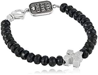 King Baby Studio Heartbreaker Faceted Onyx Bead Pave Cubic Zirconia MB Cross Bracelet