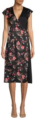 AVEC LES FILLES Floral-Print Pleated Wrap Dress