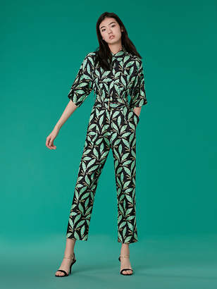 Diane von Furstenberg Short-Sleeve Pocket Jumpsuit