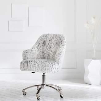 Pottery Barn Teen Gray Leopard Faux-Faux-Fur Tufted Desk Chair