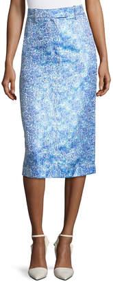Calvin Klein Flower Jacquard Midi Skirt