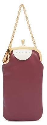 Marni Bi Colour Leather Clutch - Womens - Burgundy Multi