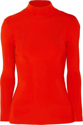 Victoria Beckham Open-back Ribbed-knit Turtleneck Sweater - Red
