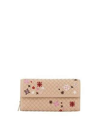 Bottega Veneta Embroidered Continental Zip Wallet