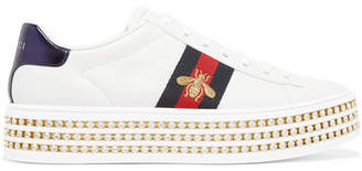 Gucci Ace Embellished Leather Platform Sneakers - White