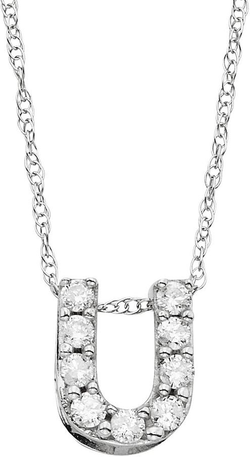 10k White Gold 1/10 Carat T.W. Diamond Mini Initial Pendant