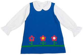 Florence Eiseman Girl's French Terry Flower Jumper w/ Long-Sleeve Knit Blouse, Size 12-24 Months