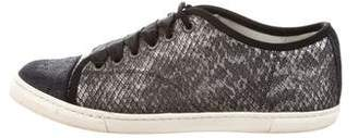 Lanvin Embossed Cap-Toe Sneakers