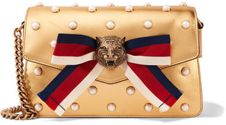 Broadway Embellished Metallic Leather Shoulder Bag - Gold