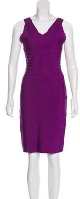Herve Leger Knee-Length Bandage Dress Violet Knee-Length Bandage Dress
