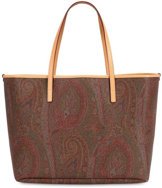 Etro Paisley Coated Cotton Tote Bag W/pouch
